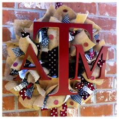 Our spirit shop wreaths make unique and wonderful gifts for Christmas or Birthdays!  Visit us on Etsy!     Custom School/Team/Gameday Burlap and Ribbon by SouthernFCreations, $75.00