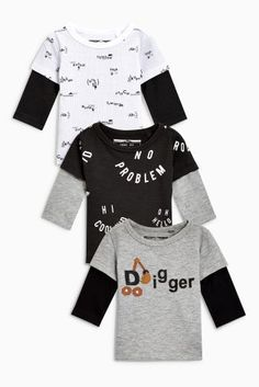 Grey Marl/White/Black Digger T-Shirts Three Pack (3mths-6yrs)