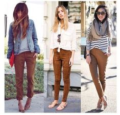 Three looks same pants Camel Pants Outfit, Orange Pants Outfit, Colored Pants Outfits, Outfits With Brown Pants, Brown Pants Outfit For Work, Casual Fall Outfits, Fall Winter Outfits, Cool Outfits, Fashion Moda