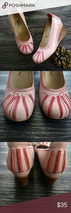 Fly Girl by Fly London Pink & Red Wedge Shoes 38 In well worn pre-owned condition but still with some stylish life left.   Pink leather wood wedge heels by Fly London.  Some scratching as is consistent with the wear of the shoes, doesn't distract from the overall stylish look (IMO). Fly London Shoes Wedges