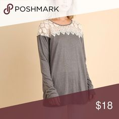 Jersey with Lace Detail This jersey is not only cute but also comfy. The lace yoke Detail gives this jersey a chic look! Fit is true to size Tops Blouses