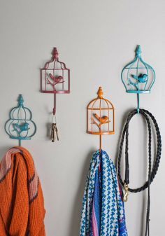 Ready for Takeoff Wall Hooks | Fly the coop in charming style after selecting a scarf and hat from these whimsical wall hooks!