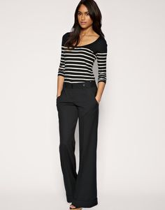 Image 1 of ASOS Tab Side Wide Leg Workwear Trouser