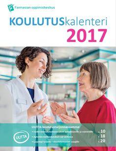 Farmasian oppimiskeskuksen koulutuskalenterin suunnittelu ja taitto.