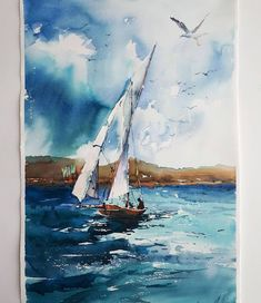 "Watercolorverse on Instagram: ""Check out @aquapandaart_ and follow @watercolorverse for daily awesome watercolor paintings 🎨 Artwork made by @natali_dmitrieva24 .…"" Watercolor Paintings, Watercolors, Sailing Ships, Awesome, Illustration, Artwork, Boats, February, Instagram"