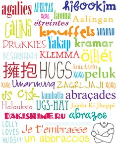 Hugs in many languages.