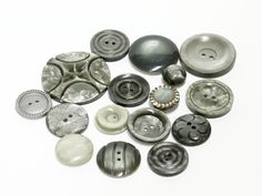 Mix of 16 grey vintage buttons