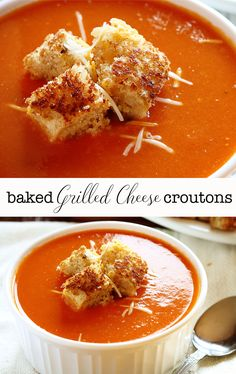 Ok so this lady shared her baked croutons but the star of this recipe is her Tomato Soup!!! I made it and my family declared it the best ever!! TRY THE SOUP!