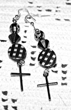 These stunning black, white, and silver pierced earrings will do any little black dress justice.  All profits will be donated to missionaries. With this purchase $7 will be donated.  Shipping is free. I sell to anywhere in the 48 continental ...