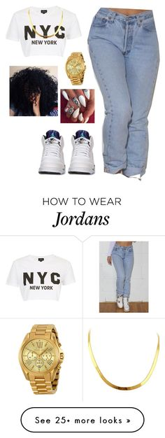"""Untitled #380"" by queen-sugah900 on Polyvore featuring Levi's, Retrò, Topshop and Michael Kors"