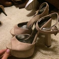 Platform sandals Tan platform sandals. Ankle strap Shoes Heels