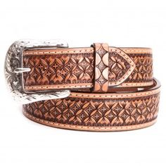 Ranger Mens Hand Tooled Leather Belts Tan