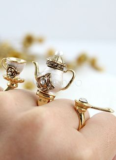Gold Metal Teapot Pattern Gorgeous Rings - Milanoo.com