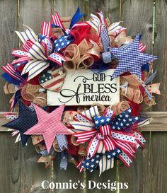 God bless america by connie's designs trendy tree custom wre Christmas Mesh Wreaths, Deco Mesh Wreaths, Easter Wreaths, Patriotic Wreath, 4th Of July Wreath, July Crafts, Holiday Crafts, 4th Of July Decorations, Diy Wreath