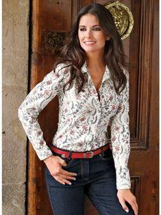 Camisa blusa mujer manga larga estampada