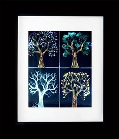 This LED frame of four season trees are hand carved from the front back an middle of the acrylic piece to produce an amazing 3D effect.