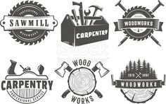 Woodwork logos. Vector badges for carpentry, sawmill, lumberjack service or woodwork shop. Set of vintage labels with hand tools #woodworkingtools
