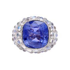 Betteridge Collection 9.35 Carat Sapphire Ring with Moonstones & Diamonds