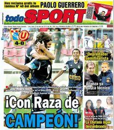 Sporting Cristal fue el gran protagonista de los diarios deportivos este fin de semana. En esta portada, Todo Sport destaca el triunfo celeste sobre Universitario.