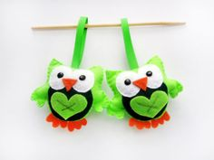 Owl Christmas Ornament set of 2 Stocking stuffer by Mariapalito, $18.00