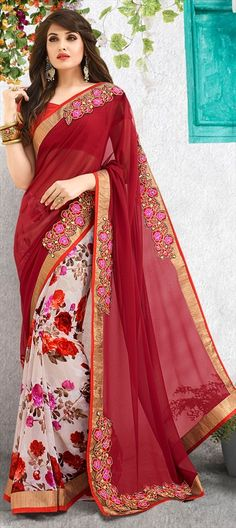 194856 Red and Maroon, White and Off White  color family Embroidered Sarees, Party Wear Sarees, Printed Sarees in Faux Georgette fabric with Border, Machine Embroidery, Printed work   with matching unstitched blouse.