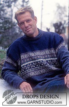 DROPS bluse i Silke-Tweed med nordisk mønster. Knitting Patterns Free, Free Knitting, Free Pattern, Crochet Patterns, Drops Design, Tweed, Knitting Daily, Indigo, Fair Isle Knitting