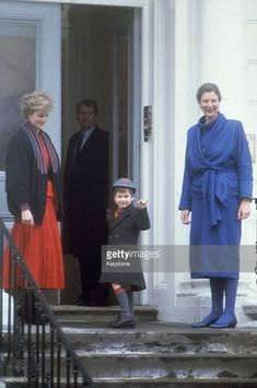 Diana, Princess of Wales (1961 - 1997, left) accompanies her son Prince William on his first day at Wetherby School, London.