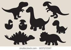 Find Vector Illustration Dinosaur Silhouette Including Stegosaurus stock images in HD and millions of other royalty-free stock photos, illustrations and vectors in the Shutterstock collection. Dinosaur Outline, Dinosaur Silhouette, Silhouette Clip Art, Cartoon Silhouette, Dinosaur Pattern, Dinosaur Crafts, Dinosaur Art, Cute Dinosaur, Dinosaur Stencil