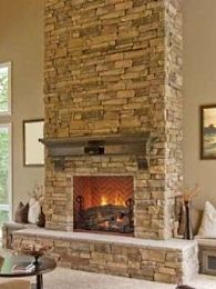 The fireplace look I like using the Tennessee Ledgestone by Stonecraft. We will have a corner fireplace and a chunky off white mantel. & 52 best Cool Stone Fireplaces images on Pinterest | Stone fireplaces ...