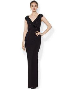 Lauren Ralph Lauren Petite Cap-Sleeve Sequined Gown