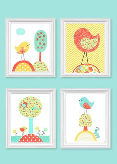 Aqua Coral Yellow Bird Nursery Decor Girl's Room Decor Baby Girl Nursery Art Birds toddler Children Set of 4 Prints 8 x 10 or 11 x 14 Owl Nursery, Nursery Prints, Nursery Wall Art, Nursery Decor, Room Decor, Pink Color Chart, Baby Room Art, Pink Bird, Kids Decor