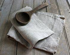 vintage homespun linen dish towel