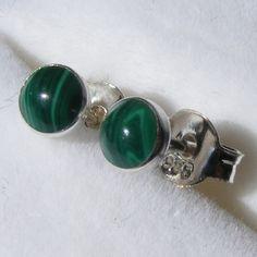 Stud Earrings in Sterling Silver with Sweet Malachite Gemstones £12.75