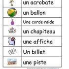 Word walls or vocabulary worksheets for your circus unit.Great for primary and early intermediate French Immersion classes. #BcEd #TPT #Education #ClavEd
