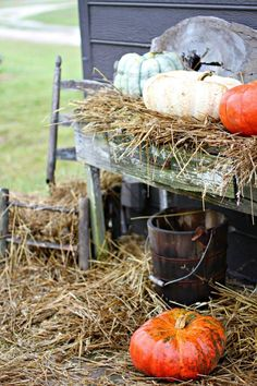 Decor from a Halloween Hayride Costume Party via Kara's Party Ideas…