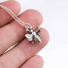 Tiny Honey Bee Necklace - 925 Sterling Silver Queen Bumblebee Charm Pendant NEW Sterling Silver Necklaces, Silver Jewelry, Silver Ring, Gold Jewellery, 925 Silver, Charm Jewelry, Diamond Jewelry, Bumble Bee Necklace, Silver Pendant Necklace