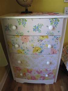 repurposed vintage chest of drawers -- with modge podge and SHEETS! love!!