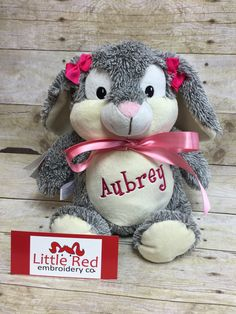 A personal favorite from my Etsy shop https://www.etsy.com/listing/242680428/baby-cubbies-personalized-stuffed-bunny
