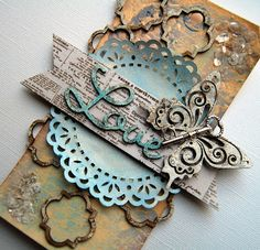Lovetag by DT Member Kristine Henanger, using Blue Fern Studios chipboard: Brigitte butterfly set, quatrefoil page panel, good vibes