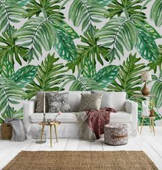 Palmiye Trendi: Palmiye Desenli Duvar Kağıtları, Yastıklar, Dekorasyon Fikirleri #palm #leaf #wallpaper #tropical Palm Leaf Wallpaper, Inside Plants, Throw Pillows, Bed, Home, Indoor Plants, Cushions, Stream Bed, Ad Home