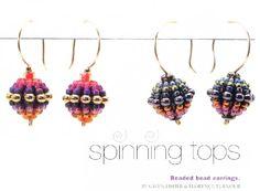 Beaded bead earrings (10-12mm core beads embellished w size 6 seed beads)