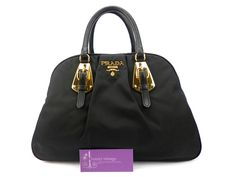 PRADA Tote Black Colour Nylon With Leather Gold Hardware Good Condition Ref.code-(KYRO-14) More Information Or Price Pls Email  (- luxuryvintagekl@ gmail.com)