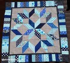 Carpenters Star - straight line quilting Big Block Quilts, Star Quilt Blocks, Star Quilt Patterns, Lap Quilts, Mini Quilts, Jellyroll Quilts, Embroidery Designs, Quilting Designs, Half Square Triangle Quilts