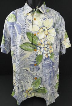 NWT Tommy Bahama Men XL Silk Camp Shirt SS Hawaiian Aloha Brisbane Botanical New #TommyBahama #HawaiianCampShirt