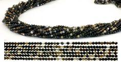 SmartyHands.com: Black lace Agate round 2mm /40cm