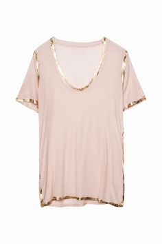 Zadig & Voltaire T-shirt, U-neck, short sleeves, foil-coated detail along the seams, modal. The metal coating is carefully applied by hand. Such craftsmanship makes each piece unique. Nude Shirt, T Shirt, Beautiful Outfits, Cute Outfits, Shirt Refashion, Dress Out, Casual Tops, Diy Clothes, How To Wear