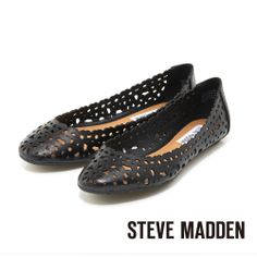 STEVE MADDEN -- 雷射切割簍空春意盎然娃娃鞋-- 神秘黑 - Yahoo!奇摩購物中心