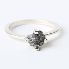 Dark grey rough diamond ring with sterling silver band with
