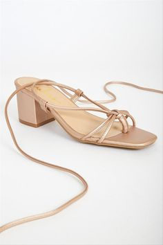 Rose gold sandals for summer wedding - lace-up strappy sandal - Lulus Zayn lace-up sandals in rose gold, $29, Lulus -Check out more summer sandals on WeddingWire!