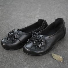 Portable Flower Leather Splicing Women Black Single Shoes